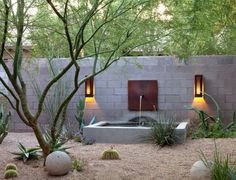 Arizona desert garden -- sheltered gravel patio. Steve Martino design