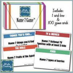 During a 10-hour road trip, we invented theName 7 Game™ which is a fun-filled, thought-provoking, conversation-sparking and even educational quiz competition game. With 100 game cards covering general knowledge topical from 20 unique categories, there is bound to be a topic for everyone!