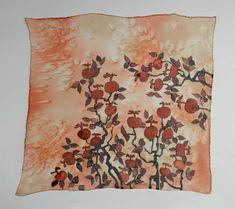 Pomegranate brunch hand painted silk scarf. by ArmeniaOnSilk
