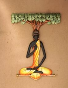 Wall Hanging - Buddha under tree - made up of wrought iron with acrylic artist color - 16X20 Inch, at ArtZolo.com for INR 2450 / $41