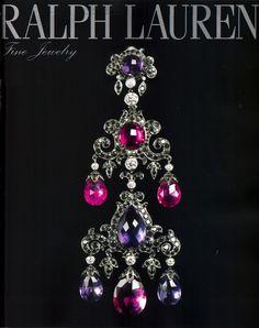 Ralph Lauren 18K rose gold earrings wdiamonds amethysts