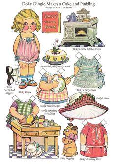 Makes a cake and pudding Bonecas de Papel: Dolly Dingle Paper Dolls Art Origami, Paper Art, Paper Crafts, Canson, Paper Dolls Printable, Dress Up Dolls, Disney Dolls, Kewpie, Vintage Paper Dolls