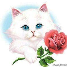 Wallpaper Gatos, Cat Wallpaper, Animal Wallpaper, Cute Animals Images, Cute Animal Videos, Cross Stitch Games, Beautiful Gif, Embossed Cards, Cat Drawing