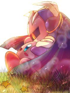 Meta Knight and Kirby. Cute ^-^