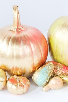 For the Makers: DIY Gold and Neon No-Carve Pumpkins