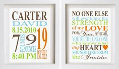 MATCHING NURSERY ART - Birth Stat and Strength of my Love Prints. $20.00, via Etsy.   #projectnursery #franklinandben #nursery