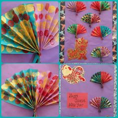 Chinese New Year Fans- used wine corks to dot two separate pieces of construction paper. The kids folded then accordion style, then I stapled them together and tied with metallic pipecleaners! Beautiful on the bulletin board!