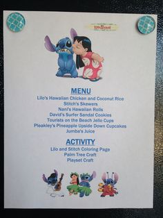 Lilo and Stitch Menu - Lilo and Stitch Movie Night - Disney Movie Night - Family Movie Nighy Disney Menus, Disney Dinner, Disney Fun, Disney Theme, Kid Movies, Family Movies, Disney Movies, Disney Movie Nights, Movie Night For Kids