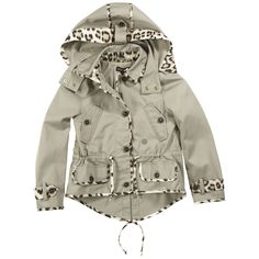 Beige trenchcoat made of streaked gabardine cloth. Buttoned hood. Buttoned straps over the shoulders. Leopard-printed finishing-off details. Drawstring at the waist. Buttoned pockets on the front. Longer patch at the back.