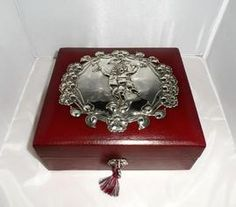 Beautiful Silver & Leather Antique Jewellery Box