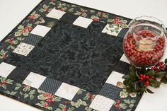 Christmas Quilted Holly Table Topper Black