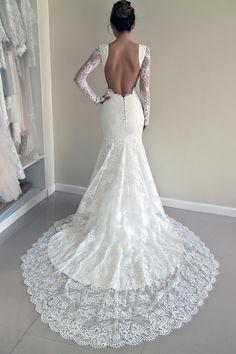Lace Wedding Dress, Custom Made Wedding Dress - Trumpet Silhouette Wedding Dress, Open Back Lace Dress