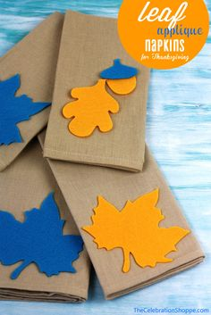 Leaf Applique Thanksgiving Napkins | TheCelebrationShoppe.com