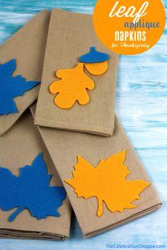 easy leaf applique napkins for Thanksgiving | The Celebration Shoppe blog
