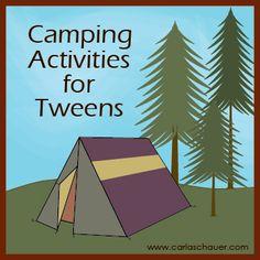 Camping Activities for Tweens.  With free scavenger hunt printables from Carla Schauer Designs. #camping #kids #scavengerhunt #tweens