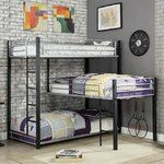 Shop for Furniture of America Hilt Contemporary Black Twin Triple Bunk Bed. Get free delivery On EVERYTHING* Overstock - Your Online Furniture Outlet Store! Get in rewards with Club O! Corner Bunk Beds, Safe Bunk Beds, Full Bunk Beds, Bunk Beds With Stairs, Kids Bunk Beds, 3 Tier Bunk Beds, L Shaped Bunk Beds, Loft Beds, Triple Twin Bunk Bed