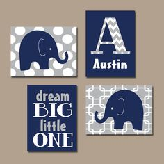 BOY Elephant Wall Art Navy Blue Boy Elephant Nursery by TRMdesign
