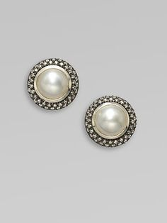 David Yurman  Diamond Accented Mabe Pearl Earrings