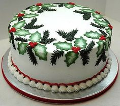 Christmas Holly (Brush Embroidery) And Pine Cake This was our family holiday cake. White almond sour cream cake with BC icing. Christmas Cake Designs, Christmas Cake Decorations, Christmas Cupcakes, Christmas Sweets, Holiday Cakes, Christmas Goodies, Christmas Baking, Holly Christmas, Outdoor Christmas