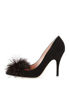 lilo pouf point-toe suede pump, black. kate spade new york.
