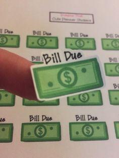 Bill due planner sticker for your Erin Condren planner