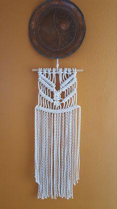 Macrame colgante de pared, artesanales Macrame, cuerda arte, decoración casera de Macrame.