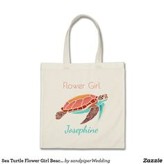 Sea Turtle Flower Girl Beach Wedding Tote Bag