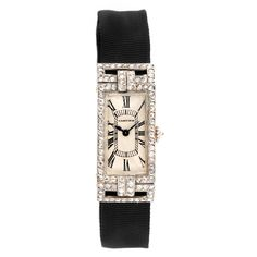CARTIER An Art Deco Diamond Platinum Wristwatch Switzerland  circa 1920