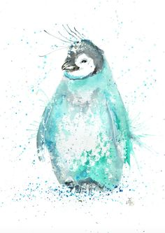 Marv penguin print printed on high quality silk paper Penguin Drawing, Penguin Art, Penguin Love, Cute Penguins, Penguin Clipart, Watercolor Animals, Watercolor Paintings, Penguin Watercolor, Watercolors