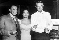 Cary Grant visits Eartha Kitt and Cab Calloway on the set of Anna Lucasta, 1959, directed by Arnold Laven.