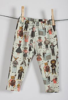 littlefour organic cotton musical animal alphabet baby leggings handmade in San Francisco NB 3M 6M 12M 18M