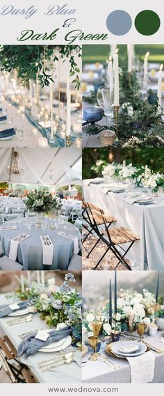 Greenery Wedding Ideas That Are Actually Gorgeous---dusty blue wedding table settings with greenery, spring and summer garden wedding ideas Blue Wedding Flowers, Wedding Greenery, Wedding Lavender, Blue Flowers, Blue Wedding Themes, Lavender Cake, Decor Wedding, Wedding Dresses With Blue, Blue Wedding Bouquets