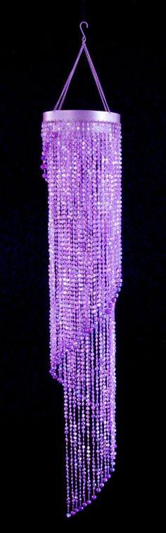 Purple Diamond Cut Spiral Beaded Chandelier