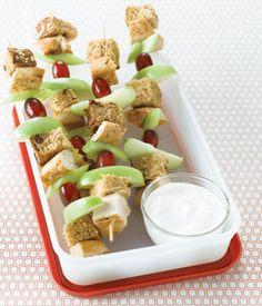 Chicken Waldorf Sandwich Kebob with Yogurt Dip