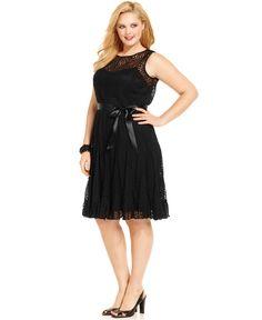Jessica Howard Plus Size Dress, Sleeveless Belted Lace - Plus Size Dresses - Plus Sizes - Macy's