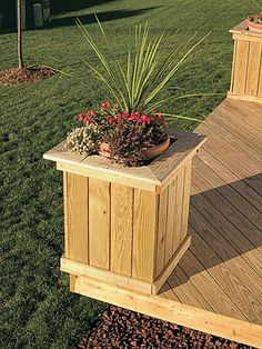 diy planters containers | Free Standing Deck with Planters and Benches - Picture Gallery - How ...