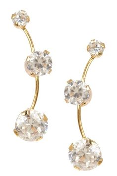 14K Gold CZ Curved Dangle Earrings by Candela on @HauteLook