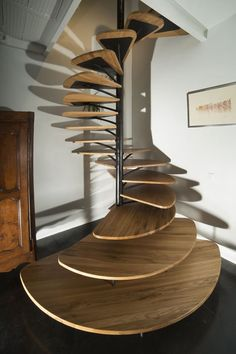 Use these awesome spiral staircase in your home. Over thirty spiral staircase ideas you can implement in your design. Feed your design ideas now. Home Stairs Design, Interior Stairs, Interior Architecture, Interior And Exterior, Stair Design, Staircase Architecture, Spiral Stairs Design, Railing Design, Escalier Design