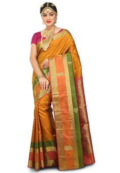 Pure Kanchipuram Silk Saree in Mustard