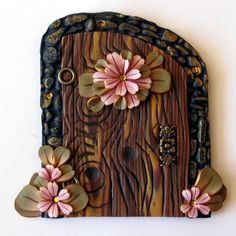 Flower Fairy Door / Portal in Antique Pink by Claybykim on Etsy - I love this!