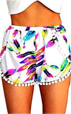 Zeagoo Sexy Women Summer Feather Print Shorts Beach Short...
