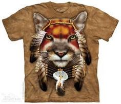 The Mountain Mountain Lion Warrior T-Shirt New T Shirt Design, Lion Shirt, Warriors T Shirt, Mountain Lion, Pretty Shirts, Plus Size T Shirts, Screen Printing, Native American, Graphic Tees