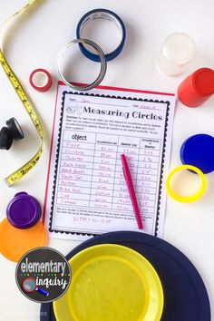 Measuring Circles Circumference and Diameter Pi Day Activity Measurement Activities, Teaching Activities, Stem Activities, Learning Resources, Teaching Math, Teaching Ideas, Pi Math, Learning Goals, 5th Grade Math