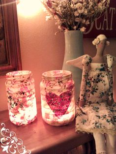 Fabric Jars -using pickle jars, strips of fabric and fabric glue. Sew a little love-