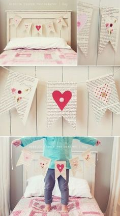 valentine day book page garland