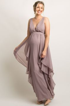 Purple Deep V Ruffle Chiffon Maternity Gown A sleeveless, chiffon maternity gown featuring a deep v-neckline, ruffle accent skirt, and cinching under the bust with pleated details. Additional details include satin lining to prevent sheerness, hidden hook and zipper back closure, and padded bust.