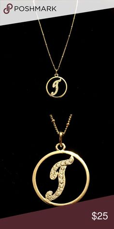 "Gold Initial Pendant necklace So pretty this gold plated initial Pendant on a beautifully done gold chain w adjustable size clasp 16"" to 18"" brand new Pendant is about the size of a nickel Accessories"