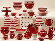 Red polka dotted and striped pottery.  Terramoto brand.