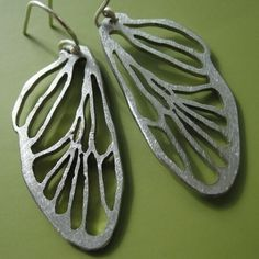 Small Cicada Line Earrings by sudlow on Etsy