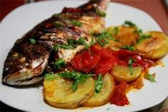 Baked Bream with Tomatoes and Potatoes recipe